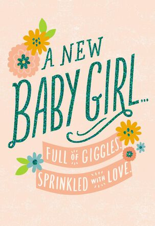Full of Giggles New Baby Girl Card