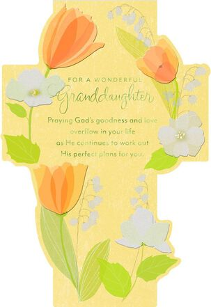 Tulip Flowers and Cross Confirmation Card for Granddaughter