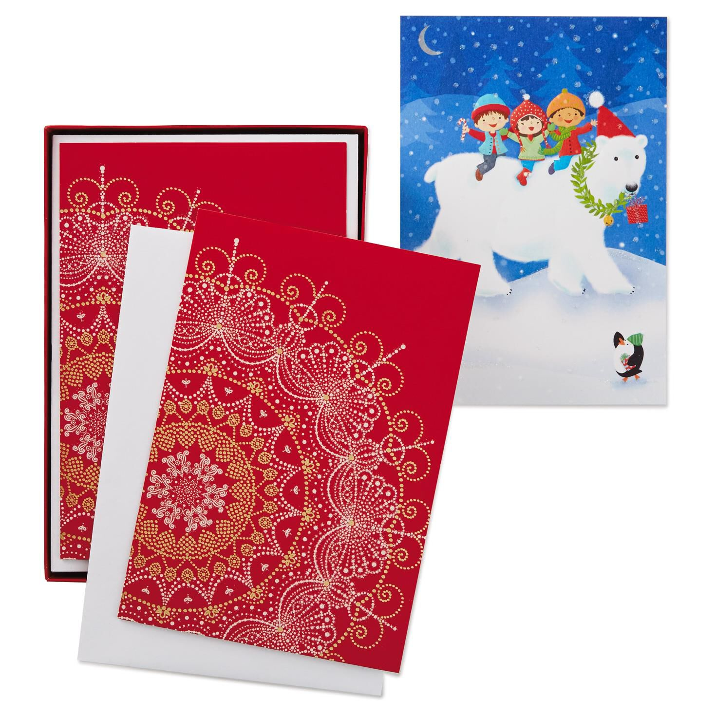UNICEF Snowflake/Bear Assorted Christmas Cards, Box of 30 - Boxed ...