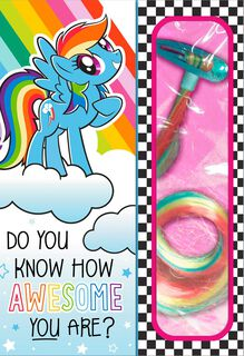 My Little Pony™ Awesomest Birthday Card With Hair Extension Clip,