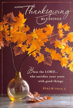 Fall Leaves Religious Thanksgiving Cards, Pack of 6