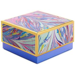 "Periwinkle Marbled Medium Square Gift Box, 7"", , large"