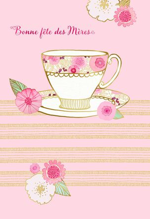 Floral Teacup French-Language Mother's Day Card