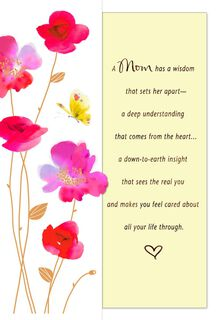 Pink Flowers and Yellow Butterfly Mother's Day Card from Son,