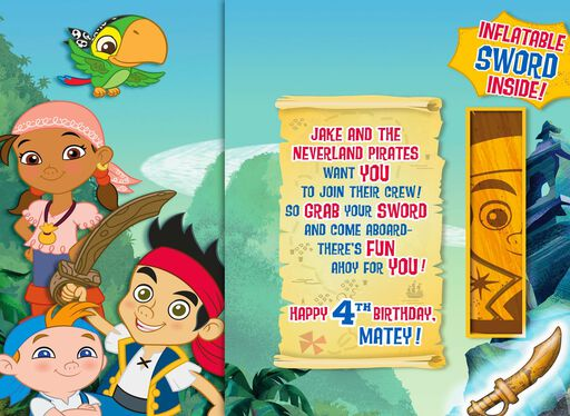 Jake and the Never Land Pirates 4th Birthday Card With Inflatable Sword,