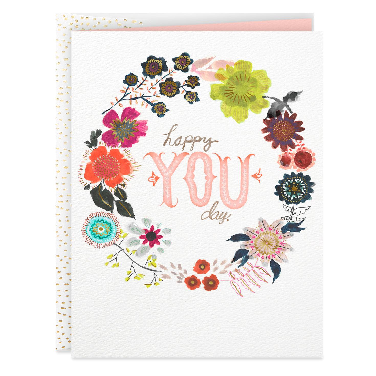 Flower Wreath Happy You Day Blank Birthday Card