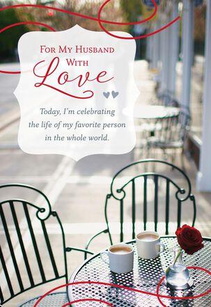 Outdoor Café Religious Birthday Card for Husband