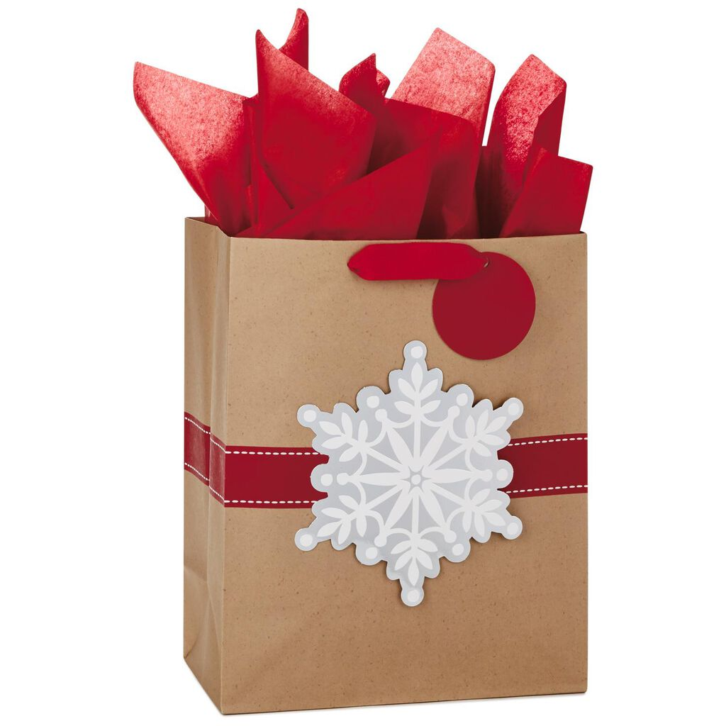 snowflake on kraft large christmas gift bag with tissue paper 13