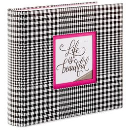 Black and White Plaid With Pink Mat Preppy Photo Album, , large