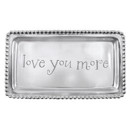 "Love You More Silver Aluminum Trinket Tray, 6.75"", , large"
