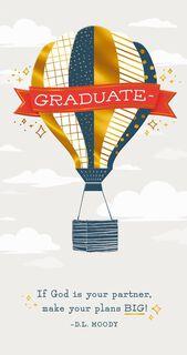 Hot Air Balloon Religious Graduation Money Holder Card,