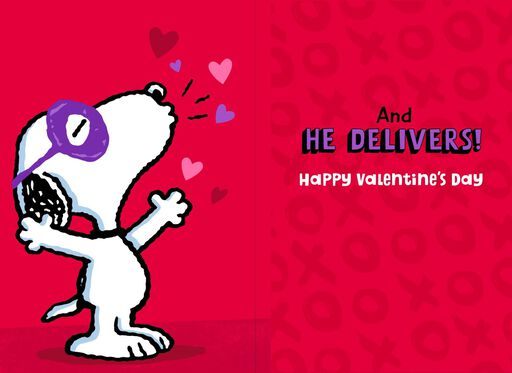 Snoopy Kissing Bandit Musical Valentine's Day Card,