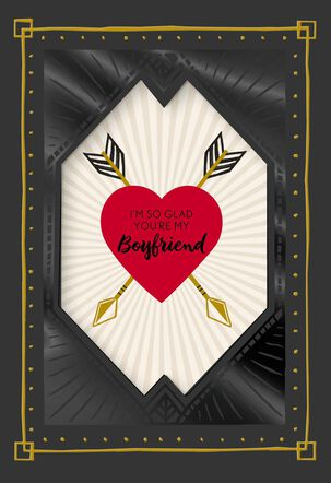 Handsome Black Valentine's Day Card for Boyfriend
