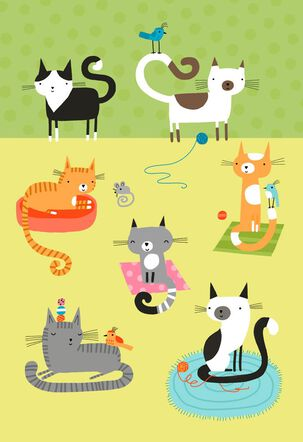 Cat Party Blank Card