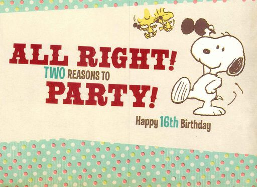 Peanuts® Snoopy and Woodstock 16th Birthday Card,