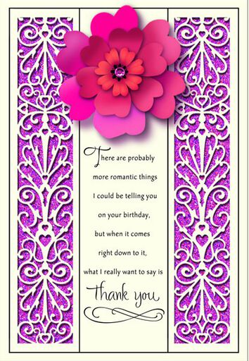Thank You Romantic Birthday Card