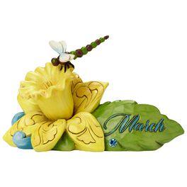 Jim Shore® March Aquamarine Birthstone and Daffodil Flower Figurine, , large
