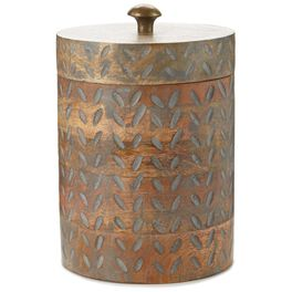 Petal Pattern Wood Canister, , large