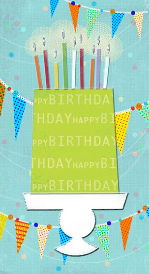 Cake, Candles and Banner Birthday Card