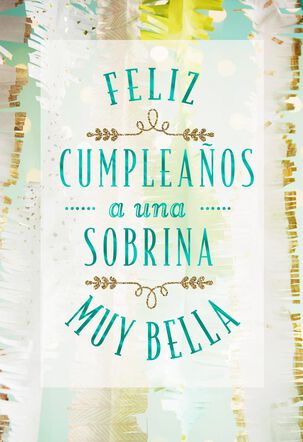 For A Beautiful Niece Spanish Language Birthday Card