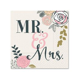 Mr. & Mrs. Cocktail Napkins, Pack of 12, , large