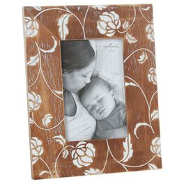 Wood and Floral 4x6 Picture Frame, , large
