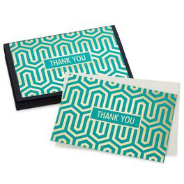 Teal Geometric Thank You Notes, Pack of 10, , large