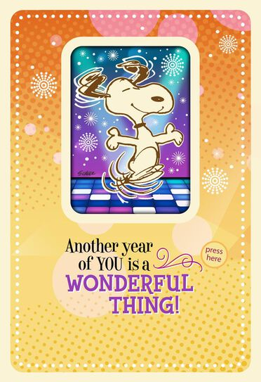 PeanutsR Snoopy Happy Dance Musical Birthday Card With Motion