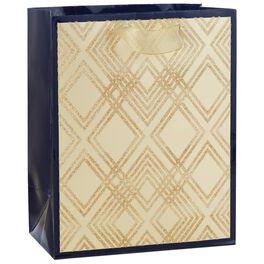 "Glitter Gold Diamonds Medium Gift Bag, 9.5"", , large"