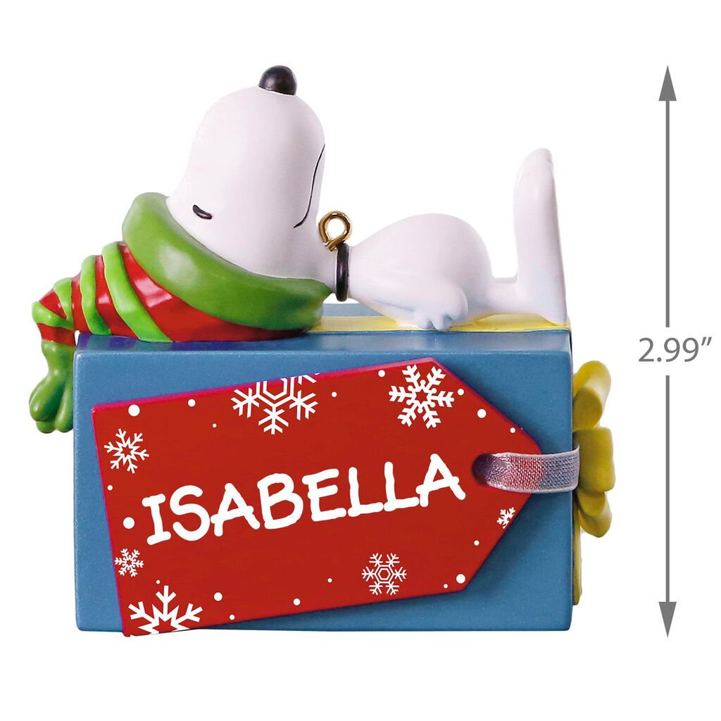 Peanuts® Snoopy Christmas Present Personalized Ornament ...
