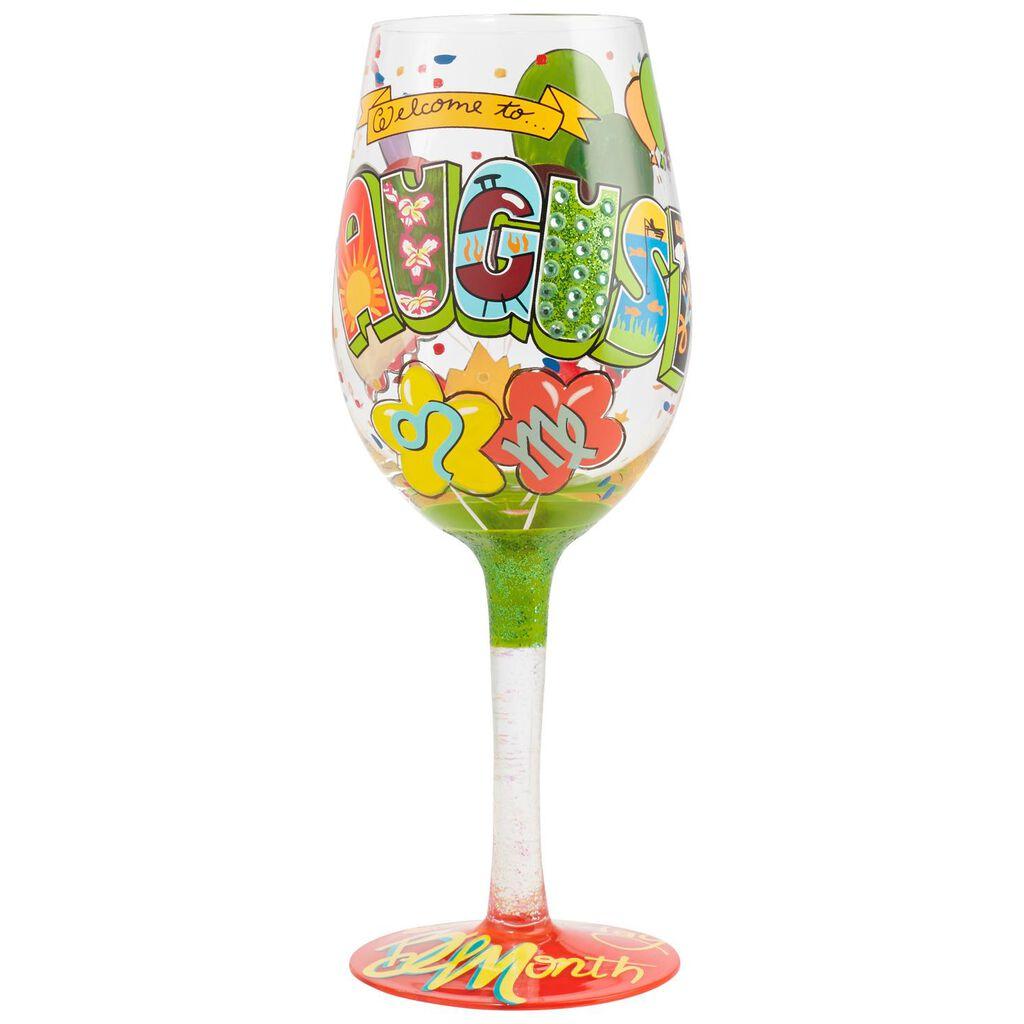 LolitaR August Birthday Month Handpainted Wine Glass 15 Oz
