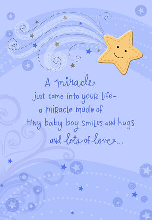 Tiny Baby Boy Smiles Congratulations Card