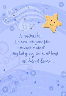 Tiny Baby Boy Smiles Congratulations Card,