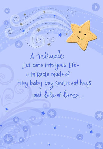 tiny baby boy smiles congratulations card