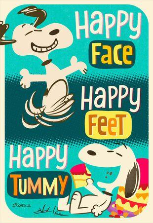 PeanutsR Snoopy Happy Feet Birthday Card