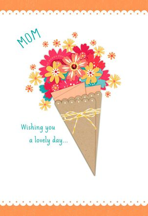 Sweet Flower Bouquet Mother's Day Card With Ribbon