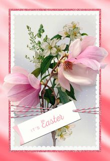 Pink Magnolia and Dogwood Easter Card,