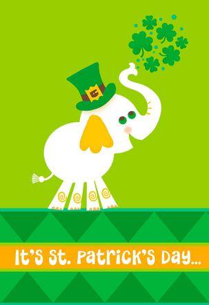 Elephant With Shamrocks St. Patrick's Day Card