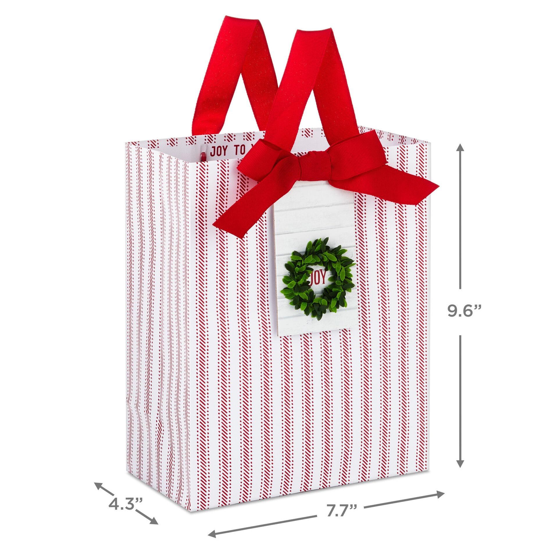 9 6 Joy Wreath On Red Ticking Gift Bag Gift Bags Hallmark