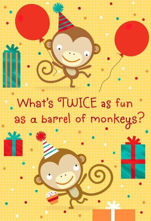 Monkeys Birthday Card for Twins