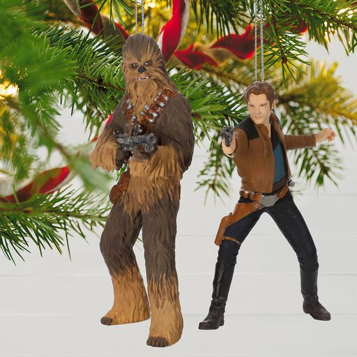 set solo a star wars story han solo and chewbacca ornaments set