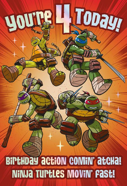 Teenage Mutant Ninja Turtles Action Comin Atcha 4th Birthday Card