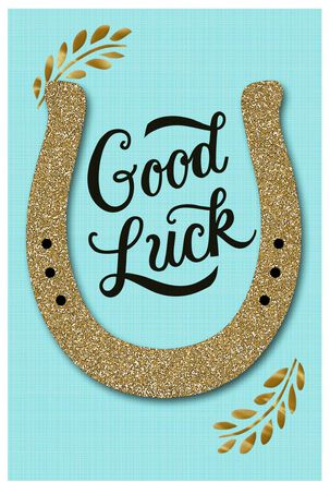 Gold Glitter Horseshoe Good Luck Card