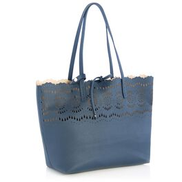 Mark & Hall Scalloped Tote, Navy, large
