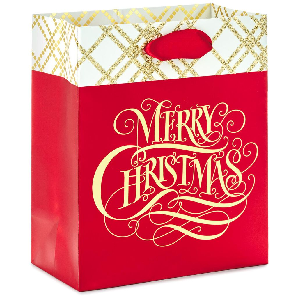 Merry Christmas Script on Red Small Christmas Gift Bag, 6.5\