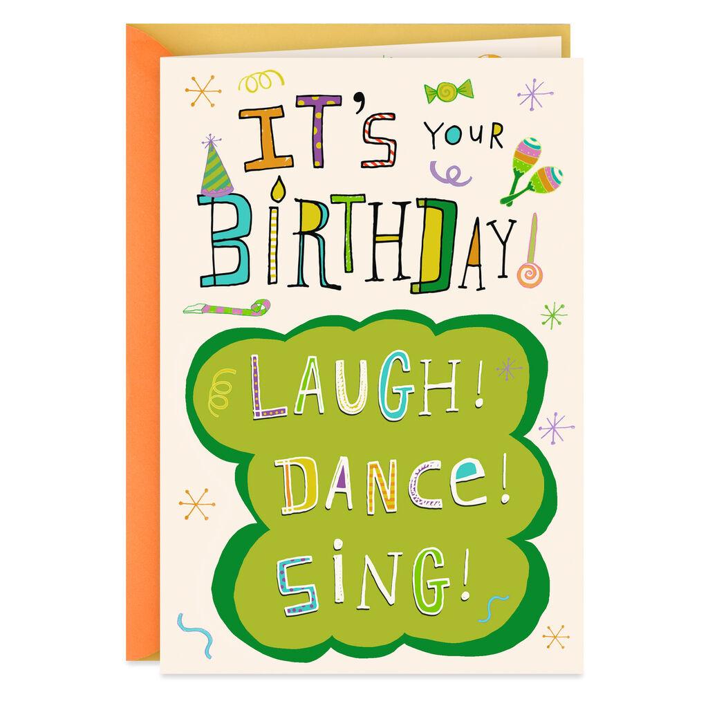 Laugh Dance Sing Musical Birthday Card