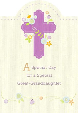 Purple Cross and Flowers First Communion Card for Great-Granddaughter