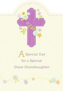 Purple Cross and Flowers First Communion Card for Great-Granddaughter,