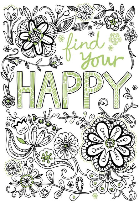 Find Your Happy Encouragement Coloring Card - Greeting Cards - Hallmark