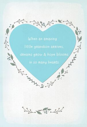Dreams Grow and Hope Blooms New Baby Grandson Card